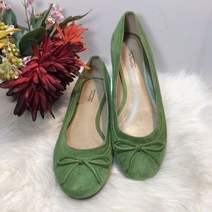 Talbots Green Suede Ballerina Flats Shoes